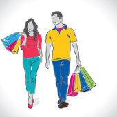 Fashion shopping couple — Stock Vector
