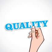 Quality word in hand stock vector — Stock Vector