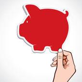 Cofrinho vermelho em stock vector de mão — Vetorial Stock
