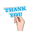 Thank you message in hand stock vector — Stock Vector