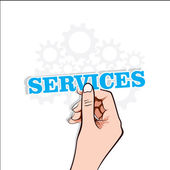 Services text label in hand stock vector — Stock Vector