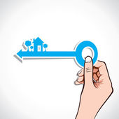 Home key on your hand stock vector — 图库矢量图片