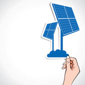 Solar panel sticker in hand stock vector — Stock Vector
