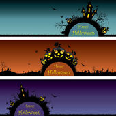 Set of Halloween banners — Stock Vector