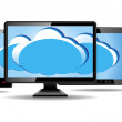 图库矢量图片: Monitor, tablet and smart phone with cloud