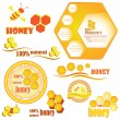 Set of honeycombs and bee badges and labels. Vector illustratio — Stock Vector