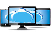 Monitor, tablet e smart phone con nuvola — Vettoriale Stock