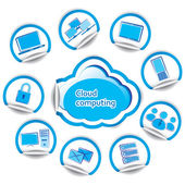 Cloud computing concept set of computer stickers — Stock Vector