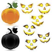 Set of makeup and pumpkin for Halloween — Stock Vector