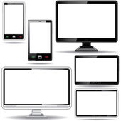Set of monitor, tablet and smart phone isolated on white backgro — Vecteur
