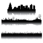 Set of vector city, grass and graveyard silhouettes — Stock Vector