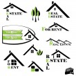 Set of houses icons for real estate business on white background — Stock Vector #24338857