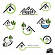 Set of houses icons for real estate business on white background — Stock Vector #24339077