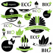 Set of bio and organic badges and labels. Vector illustration — Stock Vector