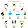 Set of green eco concept, element inside the light bulb — Stock Vector