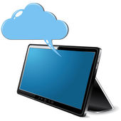 Black abstract Tablet PC with cloud on white background — Stock Vector