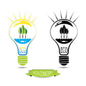 ECO energy concept, natural energy sources inside the light bulb — Stock Vector