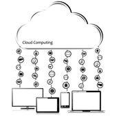 Conceito de computação nuvem vector — Vetorial Stock