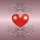 Valentine's day greeting card with heart — Stok Vektör
