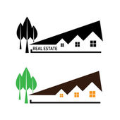 Real estate. Vector illustration house and tree on white backgro — Stock Vector
