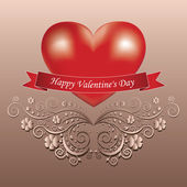 Valentine's day greeting card with heart — Stock Vector