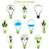 Set of green eco concept, element inside the light bulb — Stock Vector