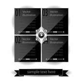 Vector black glossy panels presentations with numbers — Stock Vector