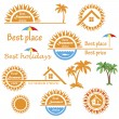 Set of season summer emblems, design elements related to travel, — Stock Vector