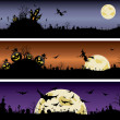 Set of Halloween night banners — Stock Vector #31093441