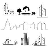 Set of houses icons for real estate business on white background — Stock Vector