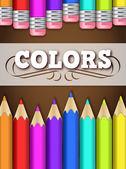 Lápices de colores de fondo — Vector de stock
