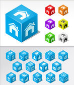 CUBIC BASIC ICONS — Stock Vector