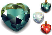 Set de corazones de San Valentín brillante diamante. Vector — Vector de stock
