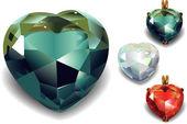Set di cuori di diamante splendente valentines. vector — Vettoriale Stock