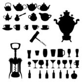 Silhouette of drinks. Cafe icons.Vector illustration — Stock Vector