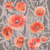 Seamless pattern with red poppy — Stock Vector