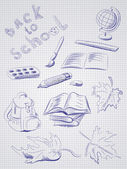 Freehand drawing school items . Back to School. — Stock Vector