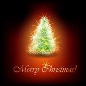 árbol de navidad brillante sobre fondo negro. — Vector de stock