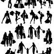 Stockvector : Shopping family and girls silhouettes .