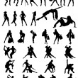 Stock Vector: Set of silhouettes of dancing couple and girls.