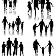 Family Silhouettes . Vector — Stock Vector
