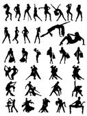 Set of silhouettes of dancing couple and girls. — Stock Vector