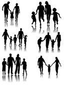 Family Silhouettes . Vector — Stock Vector