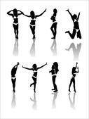 Silhouettes of Girls . Vector Illustration — Stock Vector