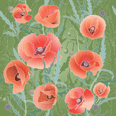 Background Pattern With Red Poppy. — Stock Vector