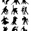 Stock Vector: Set of Silhouettes of Dancing Couple .