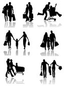 Family Shopping Silhouettes with Shadow — Stock Vector
