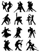 Set of Silhouettes of Dancing Couple . — Stock Vector
