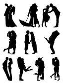 Romantic Couples Cilhouettes — Stock Vector