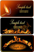 Set of Fire Flame Banner. — Stock Vector
